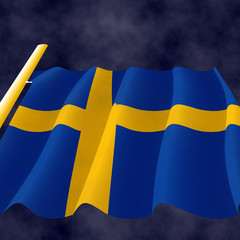 Illustraion of a flying Swedish Flag on the flagpole, view up
