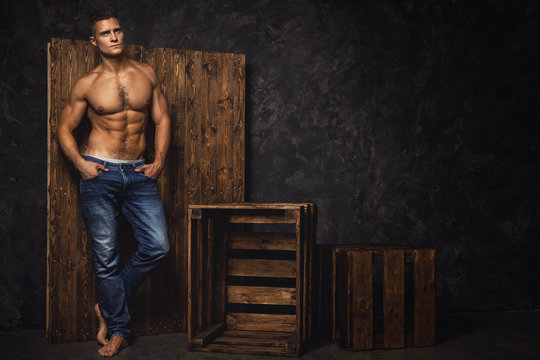 Portrait of handsome muscular and sexy man