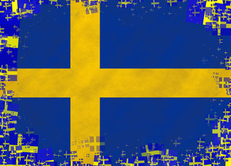 Illustration of a Swedish flag with a frame of small flags