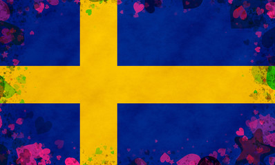 Illustration of a Swedish Flag with a frame of a heart pattern