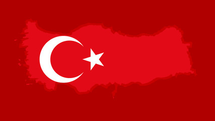 Turkish flag with a contour of border