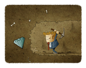 Businessman mining to find diamonds. Business concept illustration
