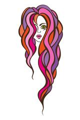 Beautiful portrait of a woman with long, wavy hair.Hair salon vector illustration.