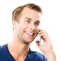 happy man talking on mobile phone