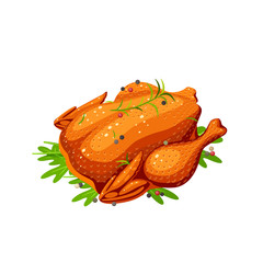 Fried whole chicken with spices and herbs. Vector illustration cartoon flat icon isolated on white.