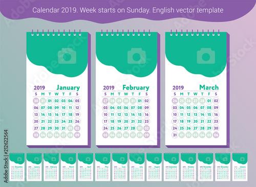 Calendar 2019 Vector English Calender January July August