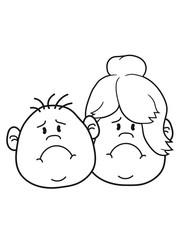 mann junge paar liebe verliebt frau weiblich mädchen haare gesicht kopf traurig weinen heulen tränen unglücklich depressiv clipart comic cartoon