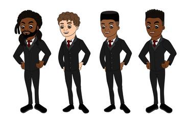 Diverse men in business suits cartoon