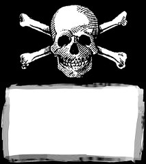 Skull and Crossbones on White Background with space for your text or design