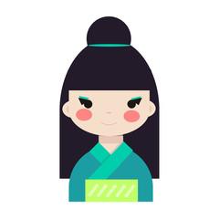 Japanese/ chinese girl doll isolated on white background. Kokeshi doll. Asian avatar. Vector stock.