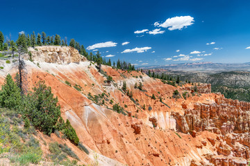 Amaing Bryce Canyon summer landscape with beautiful clouds