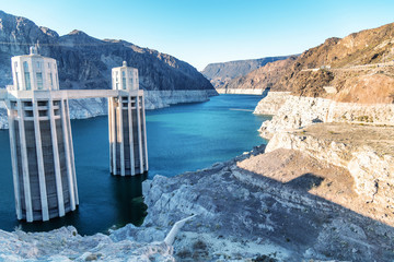 Hoover Dam in United States. Hydroelectric power station on Arizona - Nevada border