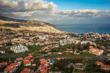 View from Pico dos Barcelos to the Funchal city, Madeira, Portugal