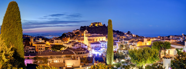 Panorama of famous Begur late evening, near Barcelona and Girona, Costa Brava.