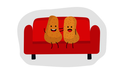 Couch Potato Couple Relaxing. Lazy concept. Relationship goals.