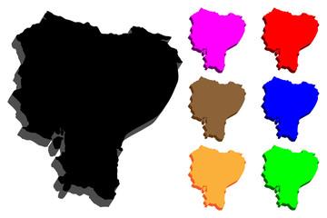 3D map of Ecuador (Republic of Ecuador) - black, red, blue, purple, brown, orange and green - vector illustration