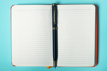 diary with pen. empty blank