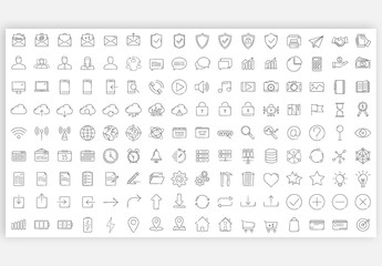 144 Thin Line Icons