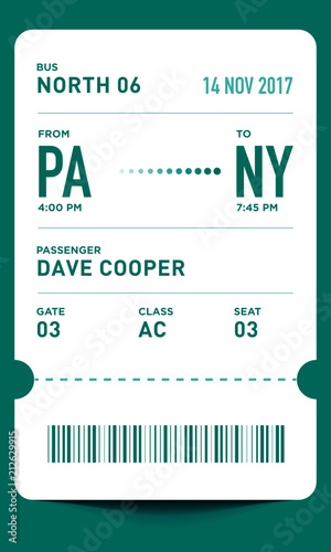 E-Ticket or Boarding Pass Card Template with Bar Code. Bus Ticket ...