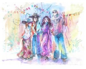 Hippie, watercolor illustration