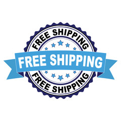 Blue black rubber stamp with Free shipping concept