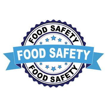Blue black rubber stamp with Food safety concept
