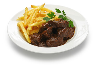 carbonade flamande with frites , flemish beef stew, belgian cuisine