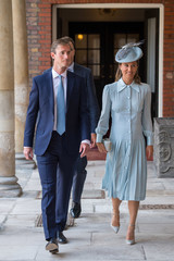 Pippa Middleton and her husband James Matthews, arrive for the christening of Prince Louis, the youngest son of the Duke and Duchess of Cambridge at the Chapel Royal, St James's Palace, London