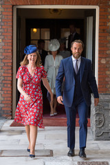 James Middleton and Lady Laura Marsham arrive for the christening of Prince Louis, the youngest son of the Duke and Duchess of Cambridge at the Chapel Royal, St James's Palace, London
