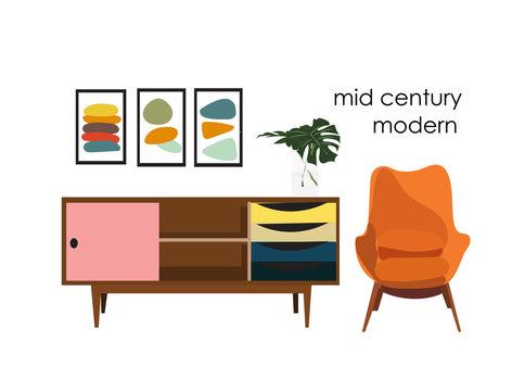 vector mid century modern illustration. 1960 1950 house home decoration.