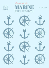 Poster template in marine style with anchors and compasses on striped background.