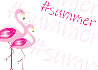 summer card - pink flamingos vector - summer theme