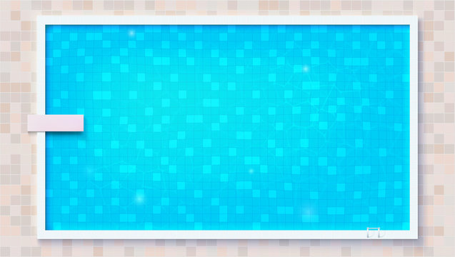 Blue ripped water in swimming pool and diving board, top view. Big outdoor pool with board for jumping into water, flat lay view. Vector template for events, posters, cover