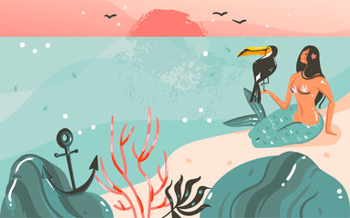 Hand drawn vector abstract cartoon summer time graphic illustrations template background with ocean beach landscape,sunset and beauty girl mermaid,toucan bird with copy space place for your text