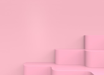 3d rendering. sweet pink stair with copy space wall background.