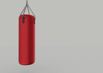 3d rendering. hanging red punching bag with copy space gray background.