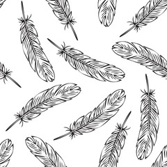 Black Bird Feather Seamless Pattern. Coloring Page