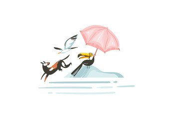 Hand drawn vector abstract cartoon summer time graphic illustrations print with beach gull and toucan birds,umbrella and dogs on beach vacation isolated on white background