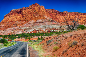 Capitol Reef rocks and road, Utah