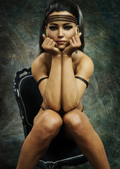 Portrait of a sitting partial nude native American female posing wearing traditional accents.Studio shot. 3d rendering