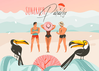 Hand drawn vector abstract cartoon summer time graphic illustrations art template background with ocean beach landscape,pink sunset,toucan birds and group of people with Summer Paradise typography