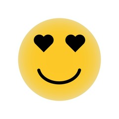 Emoticon in love face with heart shaped eyes in square outline icon vector icon. Simple element illustration. Emoticon in love face with heart shaped eyes in square outline symbol design.