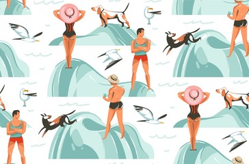 Hand drawn vector abstract graphic cartoon summer time collection flat illustrations seamless pattern with boys and girls characters on the beach with sea gulls and dog isolated on white background