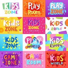 Game room vector kids playroom banner in cartoon style for children play zone decoration illustration set of childish lettering label for kindergarten decor background
