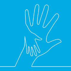 Continuous one line icon Helping Hands Vector