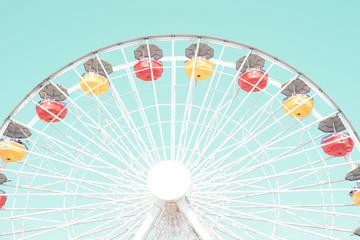 Vintage ferris wheel in an amusement park in California
