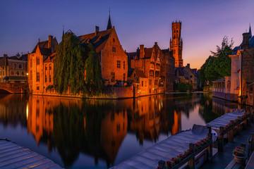 Aluminium Prints Bridges Bruges at sunset