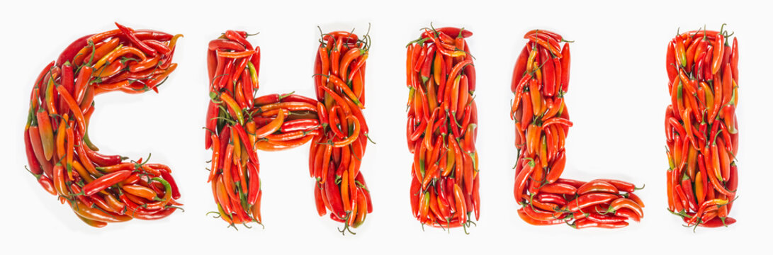 Chile word written with red chilies, Chili word written with hot chilies.