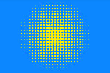 Polka dot halftone pattern. Yellow circles, points on blue background. Vector illustration