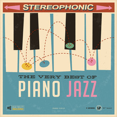 Vector Vintage Style Fictive Album cover  - The Very Best of Piano Jazz - Grunge effects can be easily removed for a brand new, clean design.